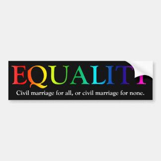 Equality In Civil Marriage Car Bumper Sticker