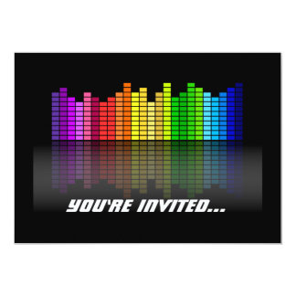 """Equalizador colorido w/Reflection, Techno fresco Invitación 5"""" X 7"""""""