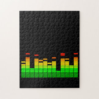 Equalizer Vibes from the Beat of DJ Music Black Jigsaw Puzzle