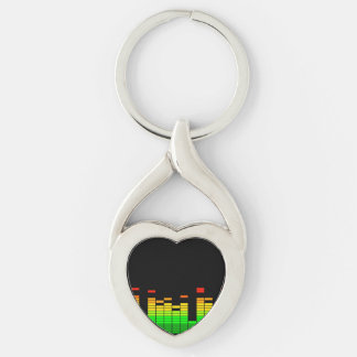 Equalizer Vibes from the Beat of DJ Music Black Keychain