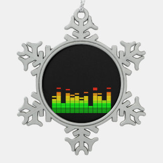 Equalizer Vibes from the Beat of DJ Music Black Snowflake Pewter Christmas Ornament