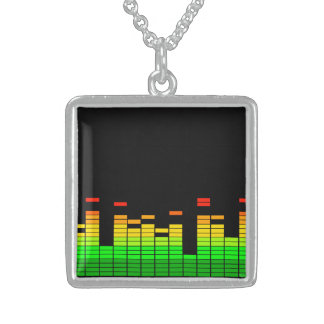Equalizer Vibes from the Beat of DJ Music decor Sterling Silver Necklace
