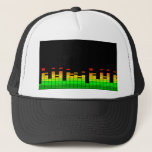 """Equalizer Vibes from the Beat of DJ Music decor Trucker Hat<br><div class=""""desc"""">A cool colorful equalizer graphic display. Let the music play!        Here&#39;s a sampling of popular DJ music themed gifts.              Use the &quot;Ask this Designer&quot; link to contact us with your special design requests or for some assistance with any of your customization project needs.</div>"""