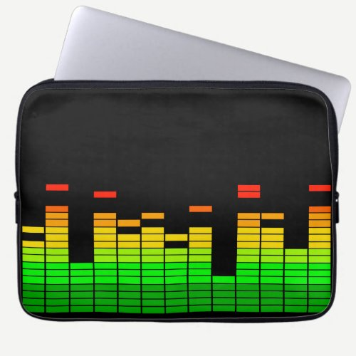 Equalizer Vibes from the Beat of DJ Music Laptop Sleeve
