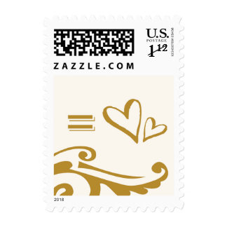 equals two hearts postage