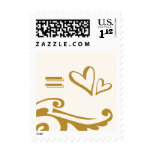 equals two hearts postage stamp