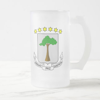 Equatorial Guinea Coat Of Arms Frosted Glass Beer Mug