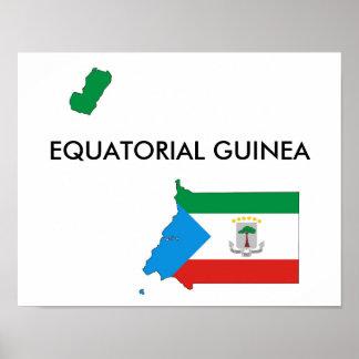 equatorial guinea country flag map shape poster