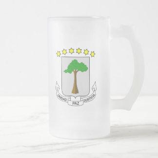 equatorial guinea emblem 16 oz frosted glass beer mug