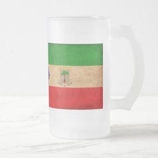 Equatorial Guinea Flag Frosted Glass Beer Mug