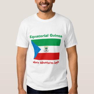 Equatorial Guinea Flag + Map + Text T-Shirt