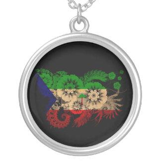 Equatorial Guinea Flag Round Pendant Necklace