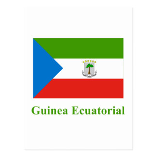 Equatorial Guinea Flag with Name in Spanish Postcard