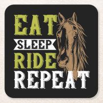 Equestrian Black Horseback Riding Western Horse Square Paper Coaster