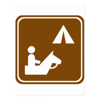 Equestrian Campground Highway Sign Postcard