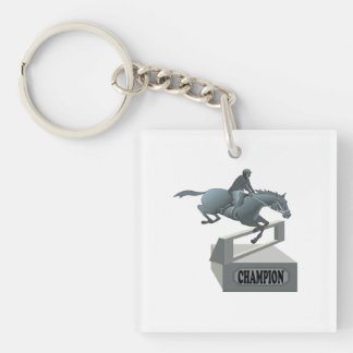 Equestrian Champion Double-Sided Square Acrylic Keychain