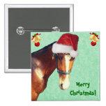 Equestrian Christmas 2 Inch Square Button