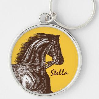 ¡Equestrian- cualquier fondo del color! Llavero Redondo Plateado