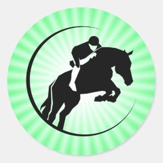 Equestrian de la verde lima etiqueta redonda