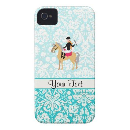 Equestrian del damasco del trullo iPhone 4 Case-Mate protectores