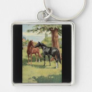 Equestrian del semental de la yegua del caballo de llavero cuadrado plateado