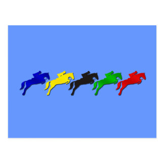 Equestrian dressage and show jumping horse postcard