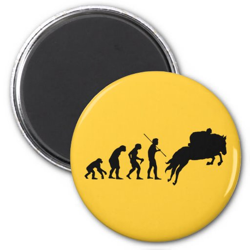 Equestrian evolution from man to horseback 2 inch round magnet