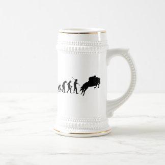 Equestrian evolution from man to horseback 18 oz beer stein