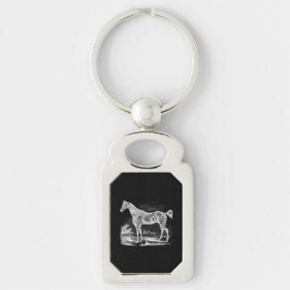 Equestrian excelente del caballo del vintage llavero plateado rectangular