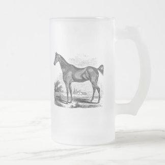 Equestrian excelente del caballo del vintage taza de cristal