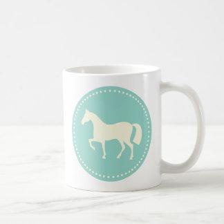 Equestrian horse/pony silhouette coffee mug (teal)