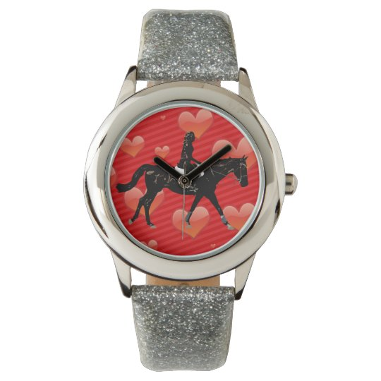 Equestrian Horse & Red Hearts Wrist Watch