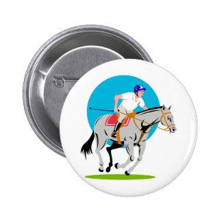 equestrian horse show jumping retro button
