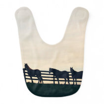 Equestrian Horses at the Pasture Fence Baby Bib