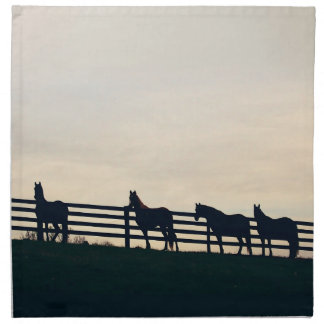 Equestrian Horses at the Pasture Fence Cloth Napkin