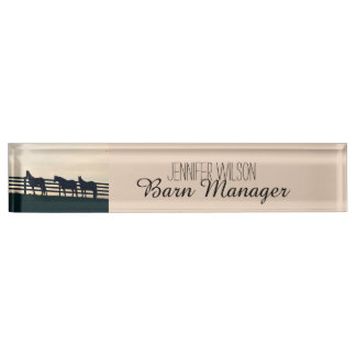 Equestrian Horses at the Pasture Fence Desk Name Plate