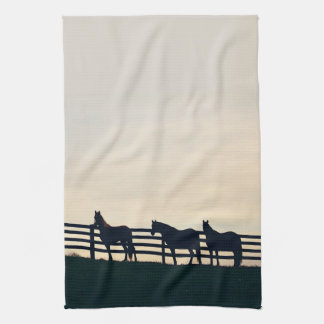 Equestrian Horses at the Pasture Fence Hand Towel