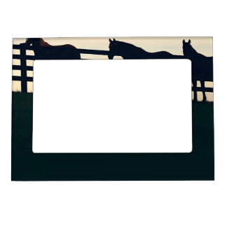 Equestrian Horses at the Pasture Fence Magnetic Photo Frame