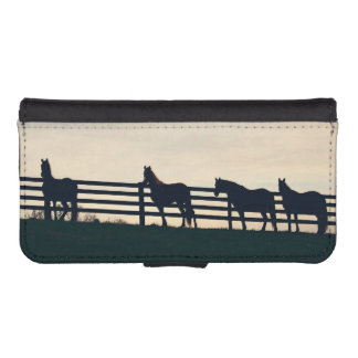 Equestrian Horses at the Pasture Fence Phone Wallet Cases