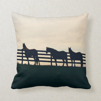 Equestrian Horses at the Pasture Fence Throw Pillow