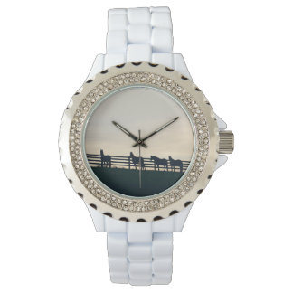 Equestrian Horses at the Pasture Fence Wrist Watch