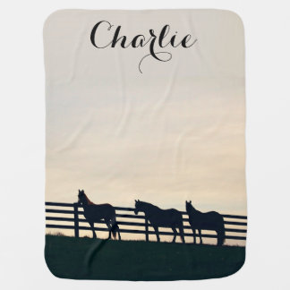 Equestrian Horses at the Pasture Fence Receiving Blanket