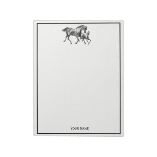 Equestrian Horses Mother Baby Foal Framed Notepad