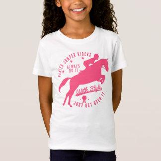 Equestrian Hunter Jumper Horse Tee Shirt Pink Logo