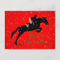 Equestrian Jumpin Great Christmas Holiday Postcard
