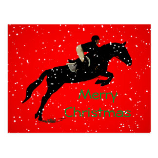 Equestrian Jumpin Great Christmas Postcard