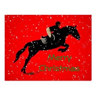 Equestrian Jumpin Great Christmas Postcard