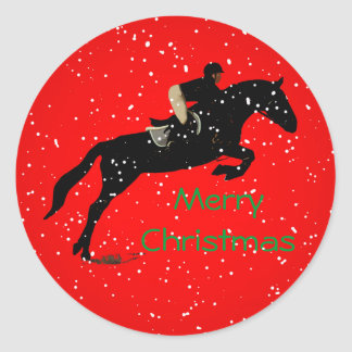 Equestrian Jumpin Great Christmas Round Sticker
