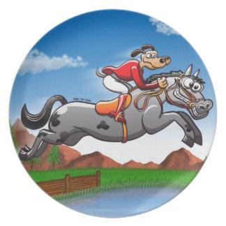 Equestrian Jumping Dog Dinner Plate