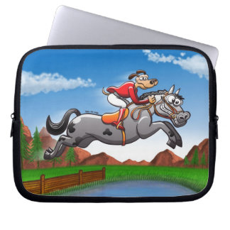 Equestrian Jumping Dog Laptop Sleeve